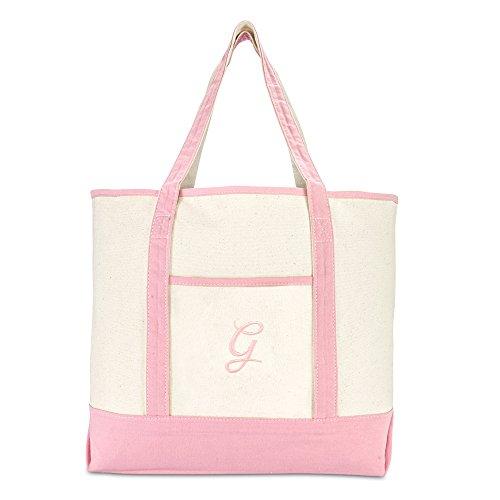 DALIX Women's Cotton Canvas Tote Bag Large Shoulder Bags Pink Monogram G by DALIX (Image #2)