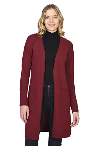 State Cashmere Mid-Length 100% Pure Cashmere Open Cardigan Long Sleeve Sweater for Women (Large, Red)