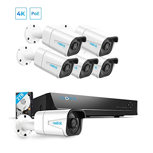 REOLINK H.265 4K PoE Security Camera System, 6pcs 8MP Wired PoE IP Cameras with Person Vehicle Detection, 8CH NVR…