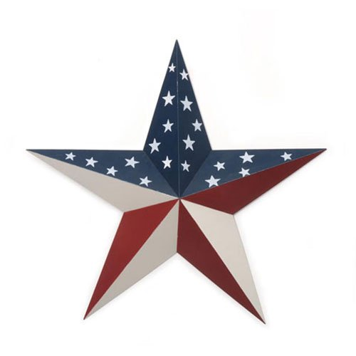 Home Source Americana Tin Star-Flag Pattern-18 Inches Metal -