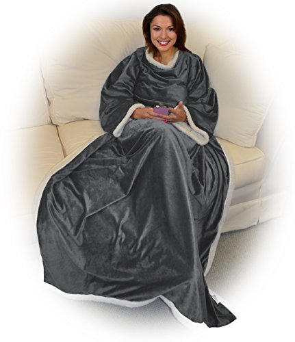 Napa-Microplush-Sherpa-Blanket-with-Sleeves-for-Women-and-Men-Super-Soft-Mink-Fleece-Cozy-Wrap-Warm-Wearable-Throw-Robe-72-x-50-Comfort-Caring-Gift-TV-Blanket