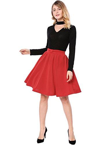 Jupe Taille lastique Femmes vase Pliss du K genou dessus Allegra Rouge Au qgCxzFnw