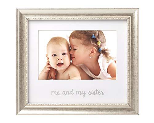 Big Sister Photo Frame - Lil Peach Me and My Sister Keepsake Frame, Display Sibling Love, Big Brother Big Sister Gifts, Silver