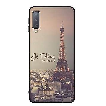MOEVN Funda para Samsung Galaxy A7 2018 Silicona Negro Carcasa para Samsung A7 2018, Matte Patrón Dibujo Case Cover TPU Suave Ultra Slim Anti Skid ...