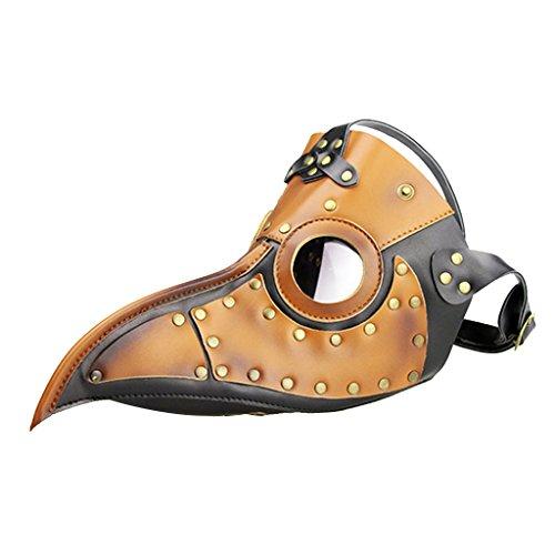 Sharplace Gothique Masque en Cuir PU Peste Médecin Oiseau Beak Costume Cosplay Halloween - Marron Noir