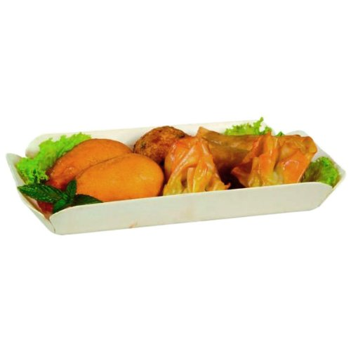 PacknWood Canada Molded Wooden Tray with Paper Liner, 9-Inch Long x 5.1-Inch Wide x 1.3-Inch High Exterior (Case of 300)