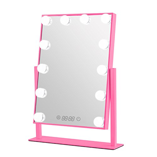 Geek-House Lighted Vanity Mirror Hollywood Style Makeup Tabletops, Large Cosmetic Mirror with 12 x 3W Super Bright Dimmable Touch Control LED Bulbs and Clock, Pink