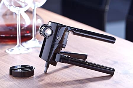 LE CREUSET LMG10 Sacacorchos Profesional y cortacápsulas Extracción del tapón en Botella de Vino, Zamac, Negro (Niquelado)