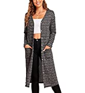 Sexyasasii Women's Shell Button Down Open Front Long Sleeve Casual Knitted Long Maxi Cardigan Str...
