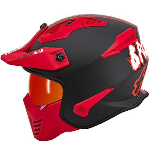 Broken Head Street Warrior Rot Camouflage – Motorrad-Helm Mit Abnehmbaren Kinnteil – Trialhelm (L 59-60 cm)