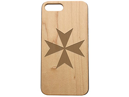 NDZ Performance Custom Wooden Phone Case for Apple iPhone 7 & iPhone 8 Plus Maple Wood Engraved: Maltese Cross ()