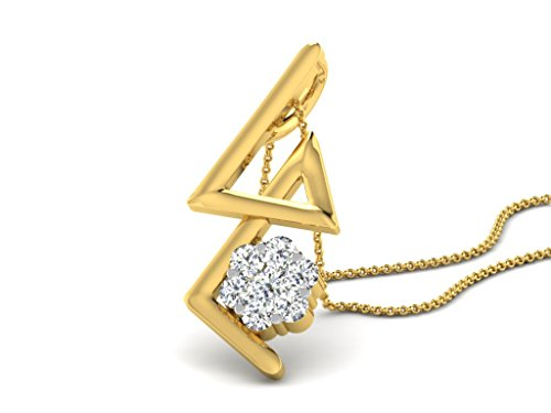 Or Jaune 14 ct Pendentifs Diamant , 0.114 ct Diamant, GH-SI, 1.35 grammes.