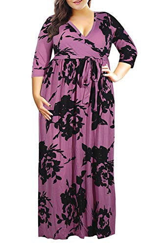 Nemidor Women's 3/4 Sleeve Floral Print Plus Size Casual Party Maxi Dress (PurplePrint, 26W)