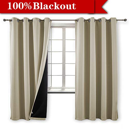 Yakamok 100% Blackout Curtains Thermal Insulated Soundproof Black Lined Curtains Heat Blocking Drapes for Living Room(52Wx84L,Beige,2 Panels)