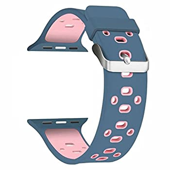 For 38MM Apple Watch Band, Shielda Silicone Strap Replacement Sport Band for Apple Watch (TYPE Z - Midnight blue / Light Pink)