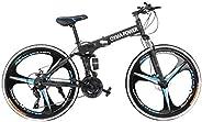 26in Folding Mountain Bike, Full Suspension Road Bikes with Disc Brakes, Shimanos 21 Speed Bicycle Full Suspen