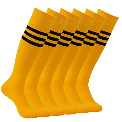 Team Football Socks, Atrest Womens Mens Solid Color Knee High Length Volleyball Soccer Long Tube Cheering Squad Socks Bright Orange+Black Stripe 6 Pairs - Orange Striped Team Colors