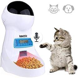 Iseebiz Automatic Cat Feeder 3L Pet Food Dispenser Feeder for Medium & Large Cat Dog——4 Meal, Voice Recorder & Timer Programmable, Portion Control
