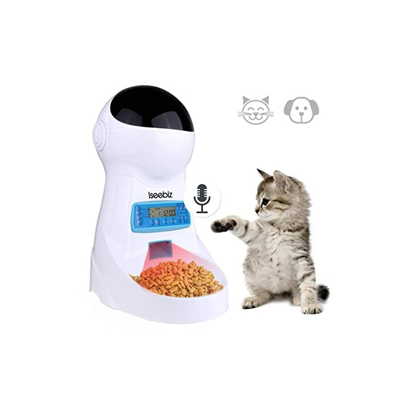 dog supplies online iseebiz automatic cat feeder 3l pet food dispenser feeder for medium & large cat dog--4 meal, voice recorder & timer programmable, portion control