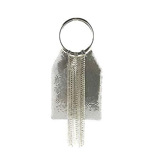 Bracelet Ring Handle Cocktail Party Wedding Clutch Crystal Rhinestone Tassels Tote Handbag Metal Mesh Evening Bag