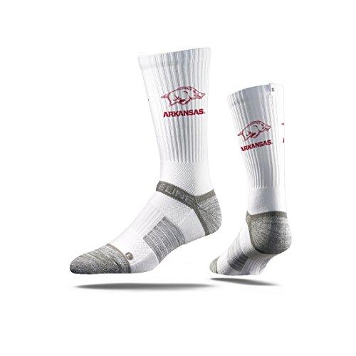 Strideline NCAA Arkansas Razorbacks Premium Athletic Crew Socks, White, One ()