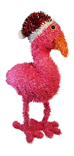 Flamingo Decoration for Christmas - Tinsel Flamingo with Santa Hat - Indoor Decoration - 15