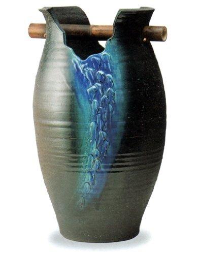 【信楽焼】青の光 花器 花瓶 径:34.5cm 高さ:59cm B01E788SDG