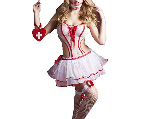 New Porn Women Lingerie Sexy Hot Erotic Hollow Out Nurse Costume Cosplay Sexy Underwear,White,One Size]()