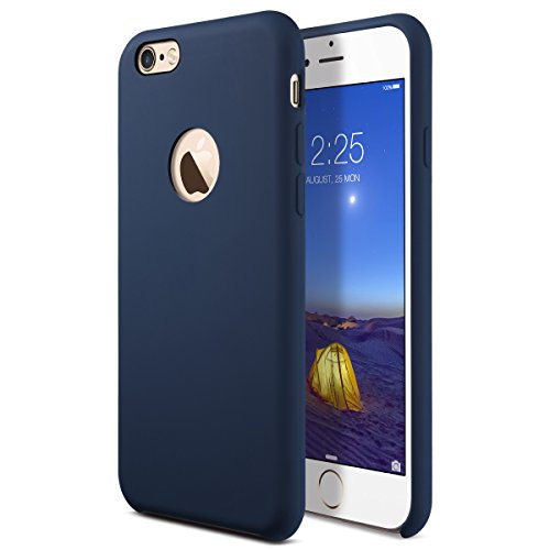 iPhone 6s Case, AZER [Amor Series] Liquid Silicone Gel Rubber iPhone 6 6S Shockproof Case with Soft Microfiber Cloth Cushion (4.7 inches) - Dark (Blue Soft Rubber)