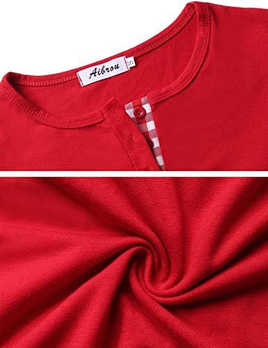 Lunghe Due Camicia Lungo Da Notte rosso Abollria Pezzi Pigiama Con Cotone In A Set Donna Maniche XwqttP7g
