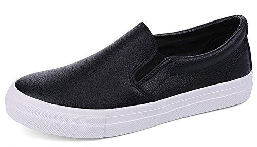 Shoes Walking Low Loafers IDIFU Slip Antiskid Top Men's On Black PU 08wx8z