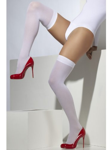 Fever Women's Opaque Hold-Ups, White, One -