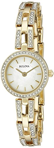 (Bulova Womens 98L213XG Swarvoski Crystal Accents Quartz Gold Tone 23mm Watch (Renewed) )