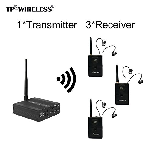 TP-WIRELESS 2.4GHz Professional In-ear Digital Wireless Stage audio Monitor System (1 Transmitter and 3 Receivers) by TP-WIRELESS