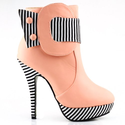 Show Story Baby Pink Striped Button Zipper High Heel Stiletto Platform Ankle BootsLF30303BP398USBaby Pink