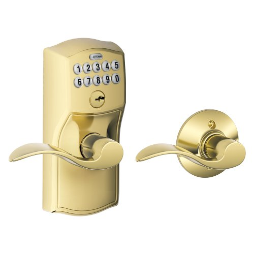 Schlage FE575 CAM 505 ACC Camelot Keypad Entry with Auto-Lock and Accent Levers, Bright Brass - Schlage Keypad Locks