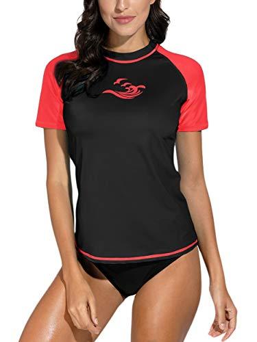 BesserBay Women's Short Sleeve Rashguard UPF 50+ Swimming Shirt Surf Top Swimwear