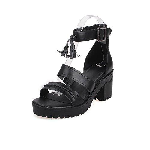 AmoonyFashion Womens Cow Leather Buckle Open-Toe High-Heels Sandals Black nFGMTA
