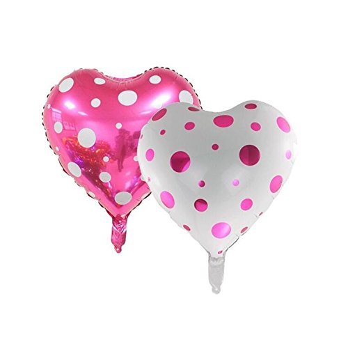 (EBTOYS Foil Mylar Helium Ballon Heart Shape Balloons for Valentine's Day Wedding Party Decorations,18inch,2-Pack )