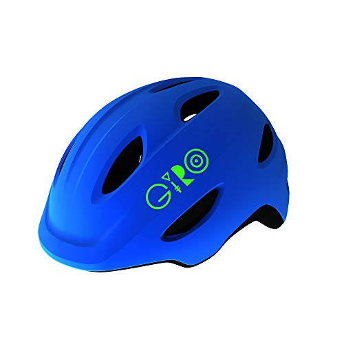 Giro Scamp Youth Recreational Bike Cycling Helmet - Small (49-53 cm), Matte Blue/Lime (2021)