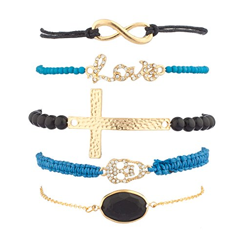 Lux Accessories Love Infinity Cross Pave Skull Arm Candy Bracelet Set (5 PC) (Candy Skull Costume)
