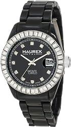 Haurex Italy Women's PN360DNW Montecarlo Black Plastic Crystal Date Watch