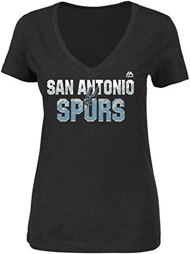 NBA San Antonio Spurs Women's Get Aggressive Short Sleeve V-Neck Tee, Large, Black