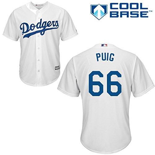 Yasiel Puig Los Angeles Dodgers #66 MLB Men's Cool Base Home Jersey (Medium)