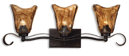 Oil Rubbed Bronze 3 Light 26 Wide Bathroom/Vanity Fixture From The Vetraio (Uttermost Bronze Vanity)