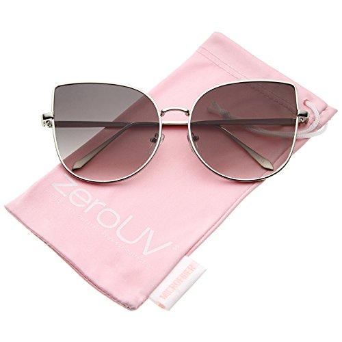 Gradient Lens Frame (Women's Oversize Slim Metal Frame Gradient Flat Lens Cat Eye Sunglasses 58mm (Shiny Silver/Lavender))