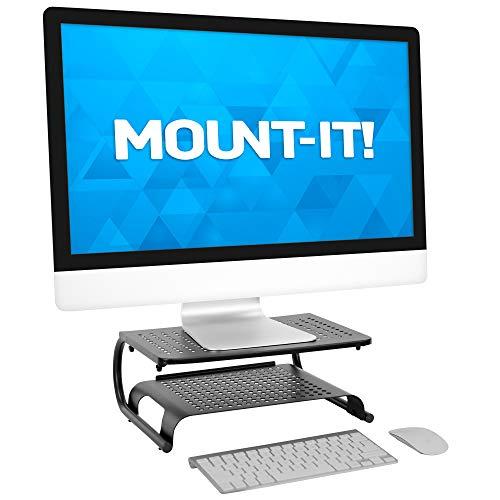 MOUNT-IT! 2 Tier Desk Organizer Riser | Computer Monitor Stand with Keyboard Storage Shelf for Desktops, Laptops…