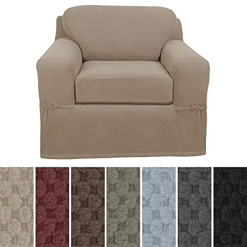 Arm Chair Box Cushion - MAYTEX Pixel Ultra Soft Stretch 2 Piece Arm Chair Furniture Cover Slipcover, Sand