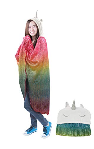 Lulu & Coco Super Soft Plush Hooded Animal Throw Girls Teens Young Adults Gift (Rainbow Unicorn) (Best Gifts For Young Teens)