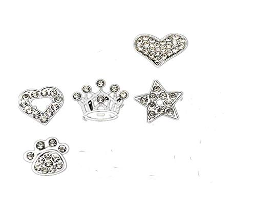 Fully 10MM DIY Rhinestone Letters Charm Paw Dog Hert Star Crown Flower Infinite Cross for Dog Puppy Cat Collar Bracelet Necklace (Silver, Crown) 10mm Rhinestone Charms Dog Collars